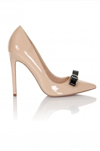 Nude Patent Tape Bow Court Heels