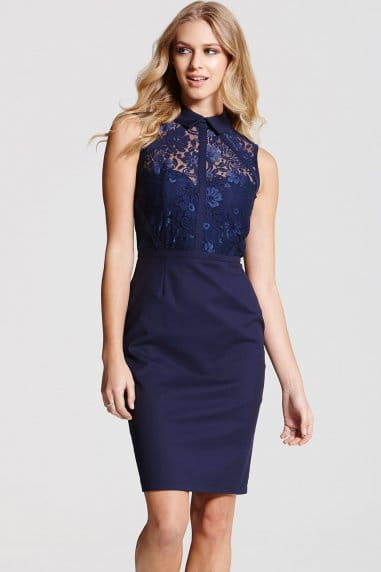 Blue Collar Lace Insert Dress