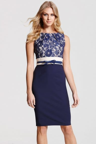 Navy Lace Contrast Dress