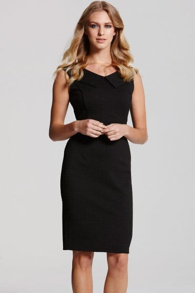 Black  Collar Bodycon Dress