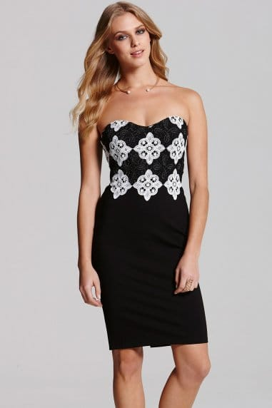 Monochrome Lace Bandeau Dress