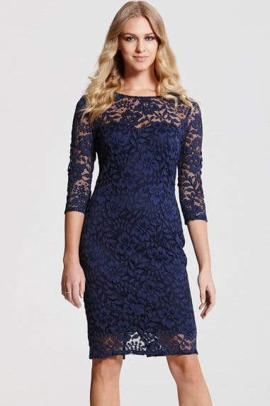 Navy Lace 3/4 Sleeve Dress