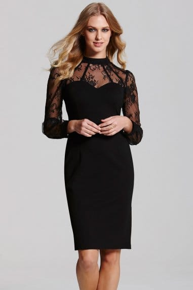 Black Lace Overlay Dress