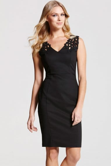 Black Cut Out V Neck Dress