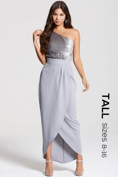 Grey and Gunmetal Heavily Embellished Wrap Over Dress