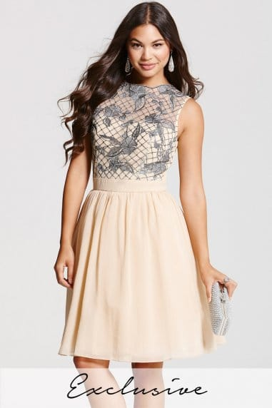 Nude and Grey Lace Overlay Dress
