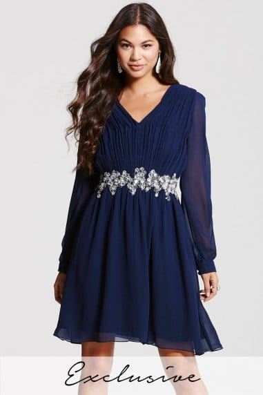 Navy V Neck Tunic Dress