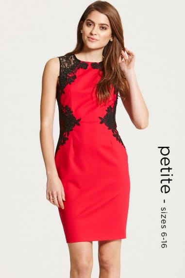 Red and Black Lace Detail Illusion Dress