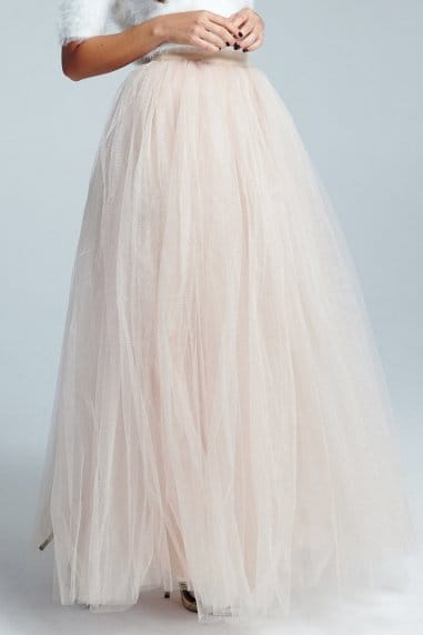 Cream Tulle Maxi Skirt