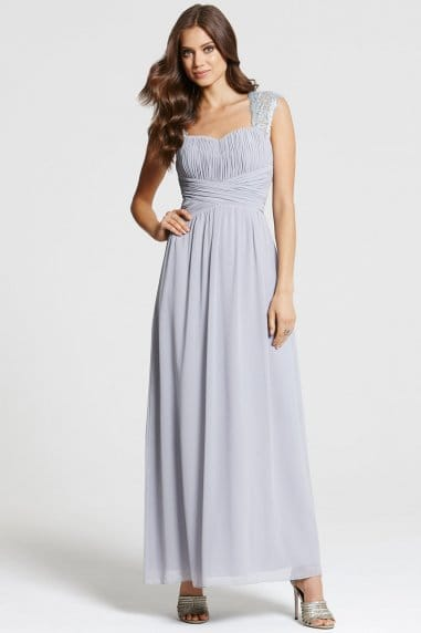 Grey Lace Shoulder Maxi
