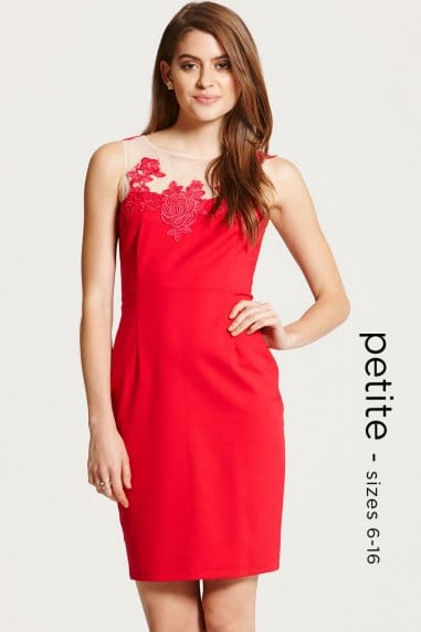 Red Mesh Insert Wiggle Dress