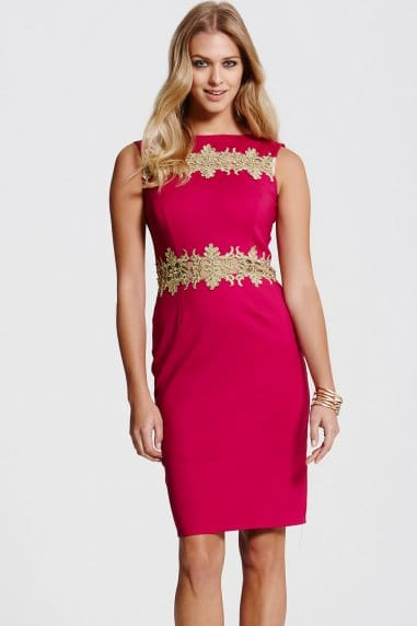 Gold Lace Trim Berry Dress