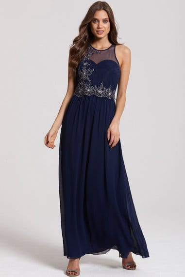 Navy and Silver Embellished 2 in 1 Maxi Dress