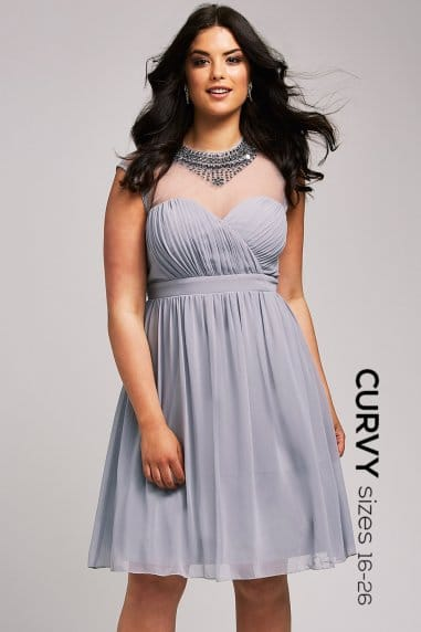Grey Mesh Embellished Dress