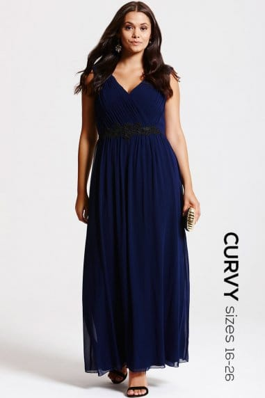 Navy Gathered Crossover Maxi Dress