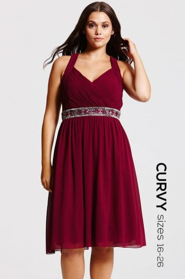 Purple Gathered Crossover Dress