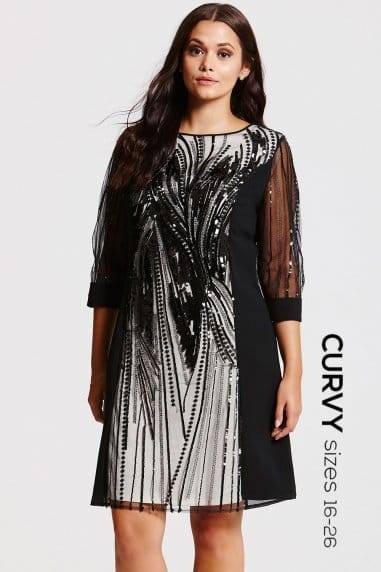 Black Heavily Embellished Panel Dress