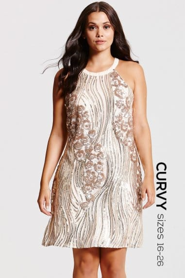 Gold and Cream Heavily Embellished Dress