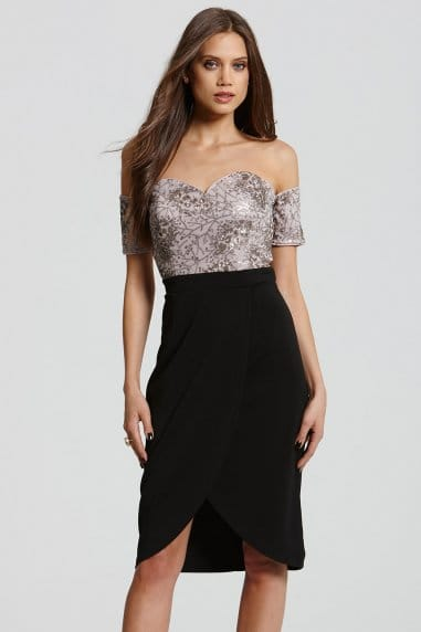 Black and Mink Bardot Embellished Dress