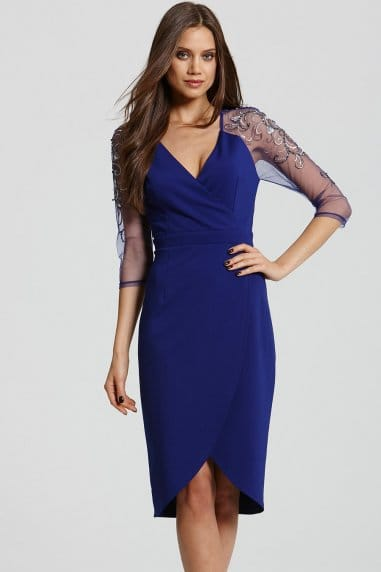 Blue Crossover Lace Dress