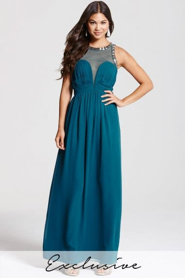 Teal Embellished Empire Bandeau Maxi Dress