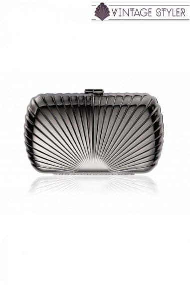 Vintage Styler Gunmetal 'Rae' Hard Case Clutch Bag