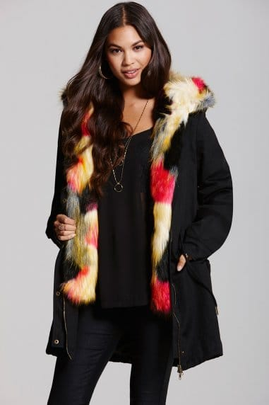 Black and Multi Coloured Faux Fur Trench Coat