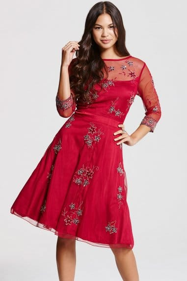 Red Embroidered Skater Dress
