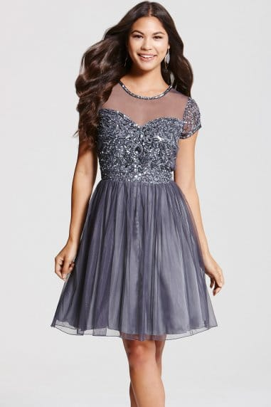 Grey Fit and Flare Embellished Dress
