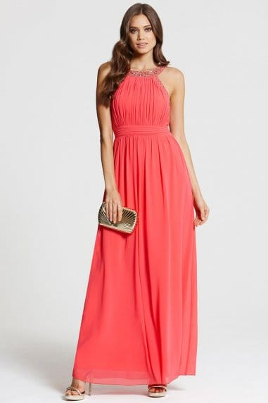 Coral Embellished Neck Maxi Dress