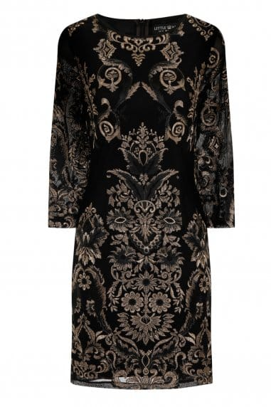 Black and Gold Floral Embroidered Bodycon Dress