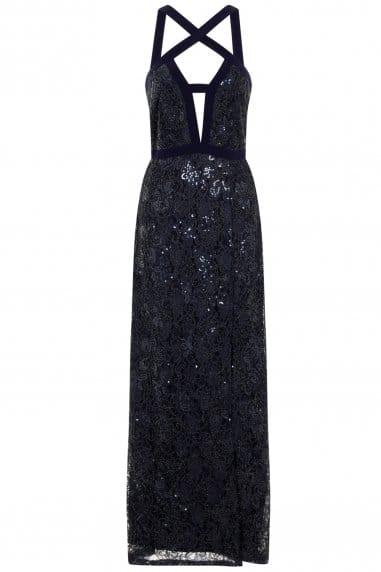 Navy Cut Out Embellished Maxi Dress