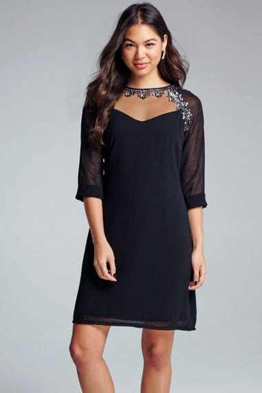 Black Embellished Tunic Dress