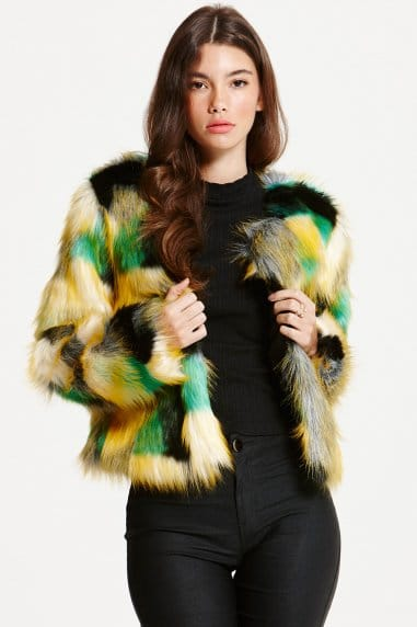 Multi Patchwork Crop Faux Fur Jacket