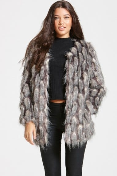 Grey and White Pattern Faux Fur Jacket