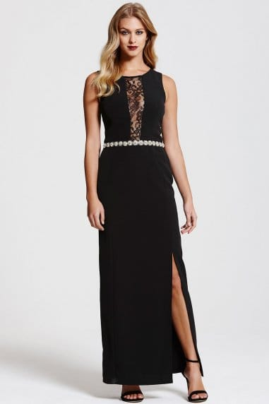 Black Lace Panel Jewel Waist Maxi Dress