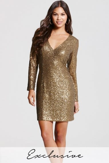 Heavily Embellished Gold Bodycon Dress