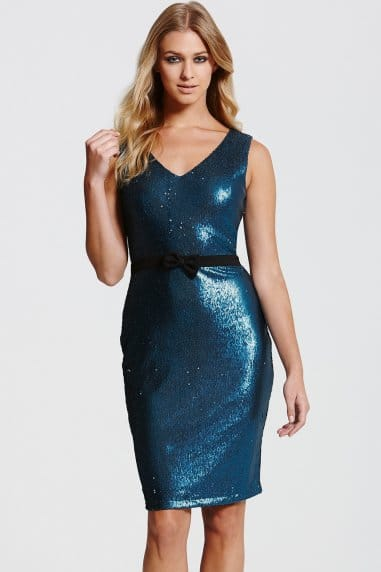 Paper Dolls Teal Sequin Bow Waist Dress