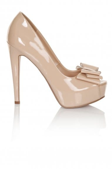 Little Mistress Footwear Nude Bow Peep Toe Heel