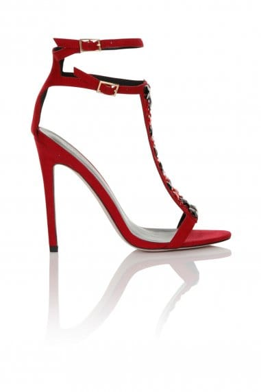 Little Mistress Footwear Red/Multi Stone T-bar Heel