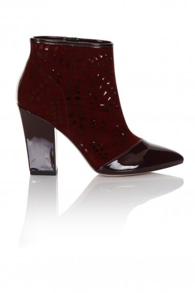 Little Mistress Footwear Burgundy Lazer Cut Boot