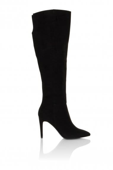 Micro-Fibre Knee High Point Toe Boots