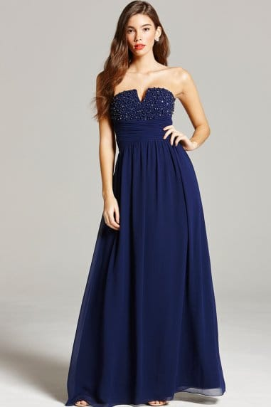 Navy Embellished Bandeau Maxi Dress