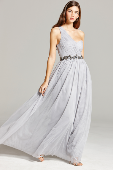 Grey One Shoulder Embellished Maxi Dress