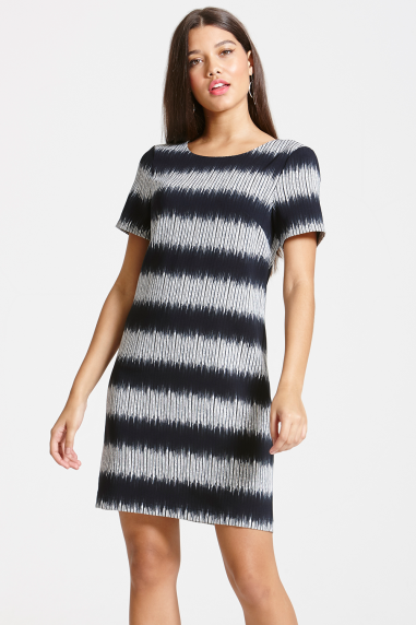 Grey And Black Stripe Shift Dress