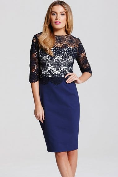 Navy Crochet Lace 2 in 1 Dress