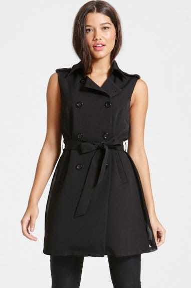 Black Sleevless Cross Over Dress