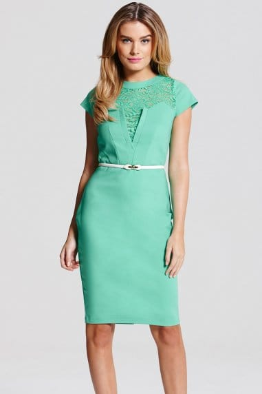 Green Lace Insert Dress