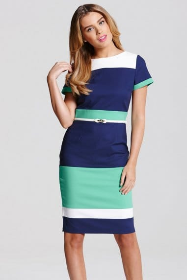 Navy, Cream and Green Panel Dress
