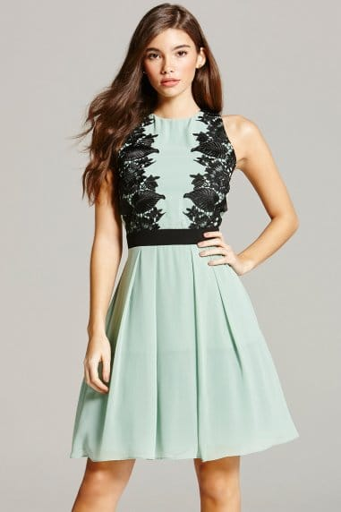 Sage and Black Lace Overlay Prom Dress